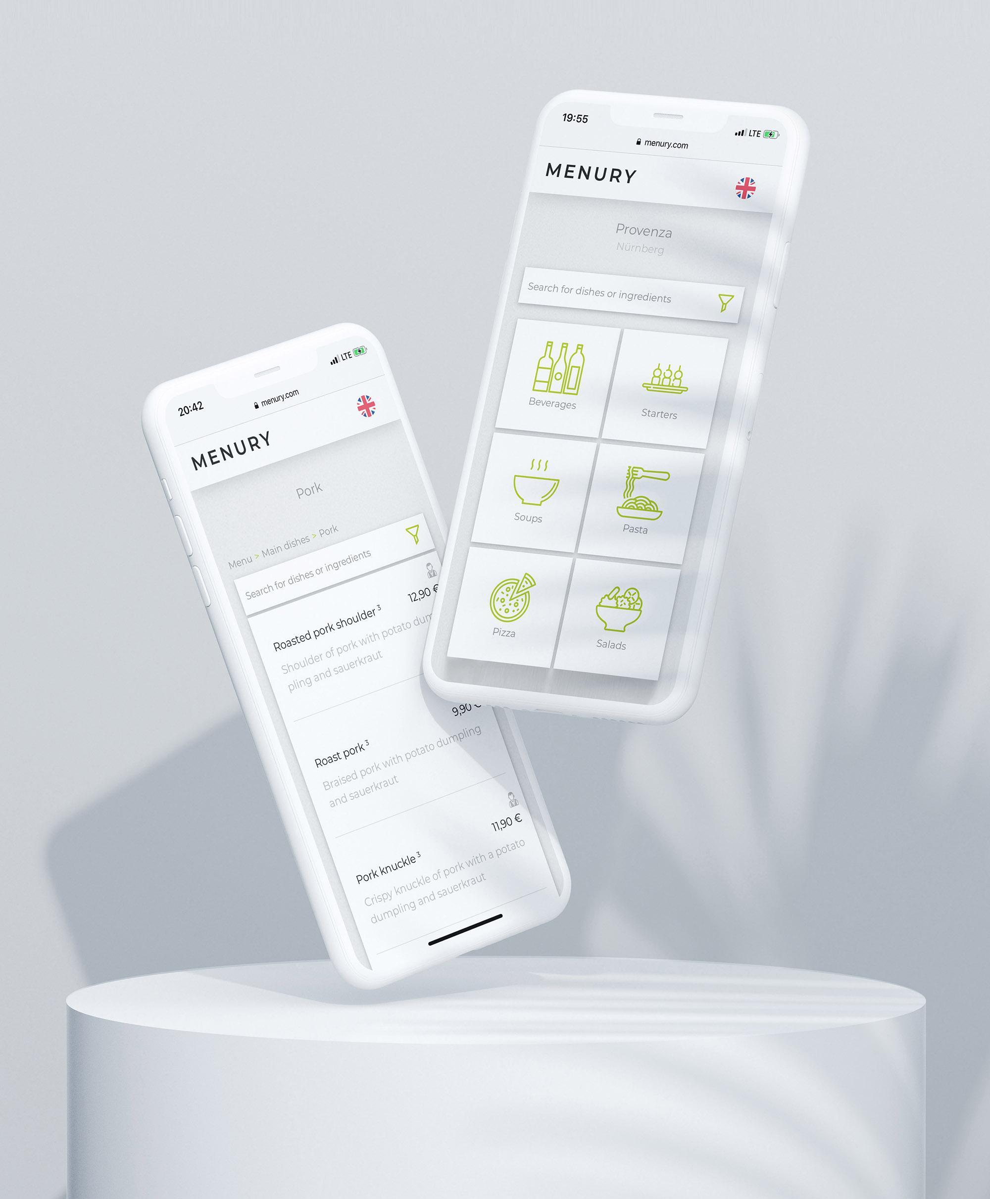Die digitale kontaktlose speisekarte