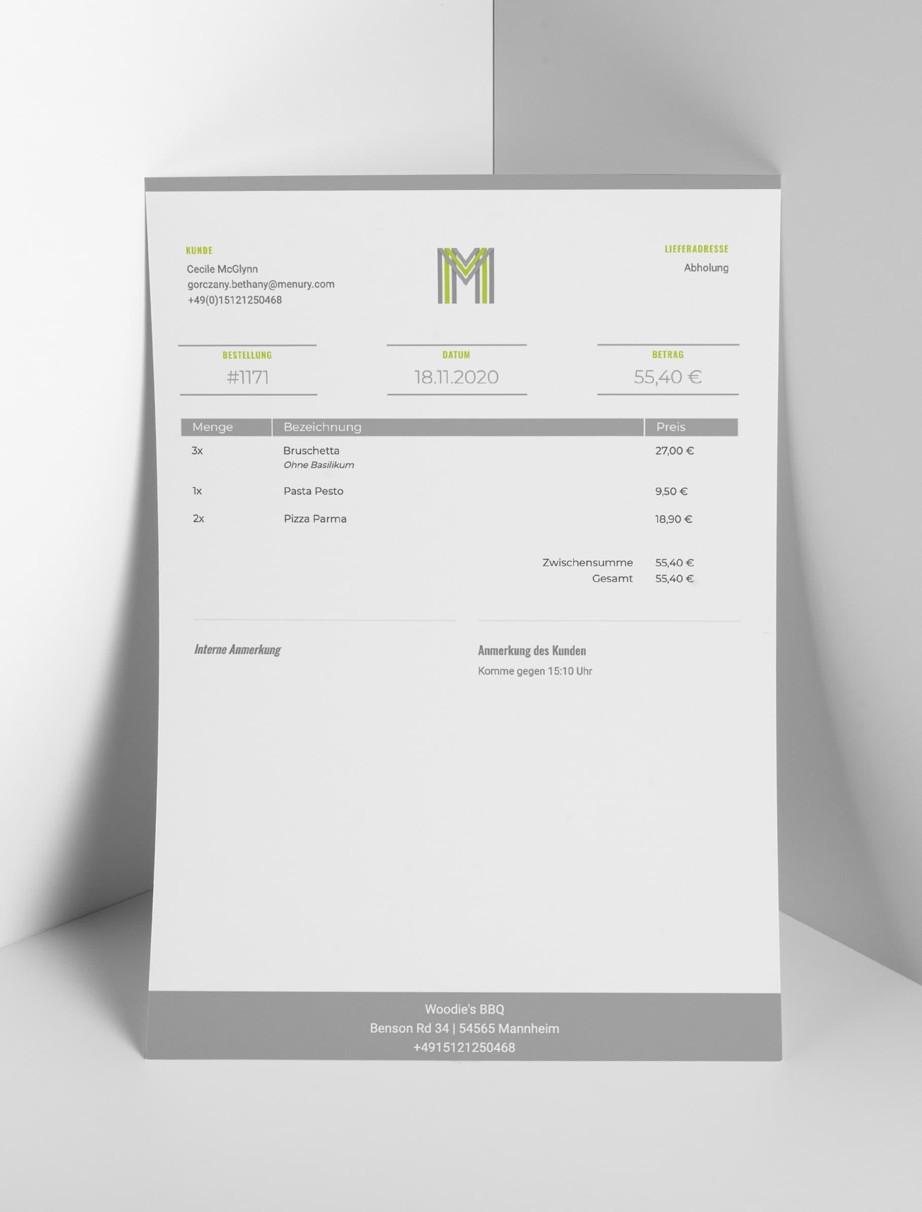 Bestellbestätigung als PDF für Lieferservice und Abholung in der Gastronomie