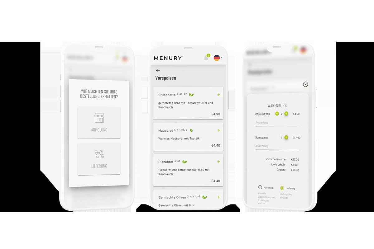 Gastronomie Bestellsystem mit digitaler Speisekarte für Lieferung und Abholung