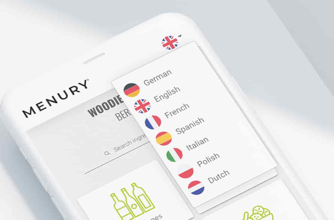 Your menu translated into 7 languages